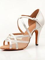 Недорогие -Жен. Танцевальная обувь Сатин Обувь для латины На каблуках Тонкий высокий каблук Коричневый / Серебряный