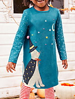 Недорогие -Дети Девочки Однотонный Длинный рукав До колена Платье Синий