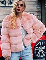 Недорогие -Жен. Повседневные Обычная Искусственное меховое пальто, Однотонный Круглый вырез Длинный рукав Искусственный мех Черный / Розовый / Серый