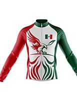 Недорогие -21Grams Мексика Флаги Муж. Длинный рукав Велокофты - Зеленый Велоспорт Джерси Верхняя часть Сохраняет тепло Устойчивость к УФ Дышащий Виды спорта Зима 100% полиэстер / Эластичная / Быстровысыхающий