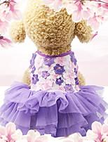 Недорогие -Собаки Коты Животные Платья Одежда для собак Цветочные / ботанический Лиловый Полиэстер Костюм Назначение Лето Мужской Свадьба