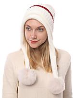 Недорогие -Жен. Активный Симпатичные Стиль Широкополая шляпа Акрил,Контрастных цветов Зима Черный Винный Белый