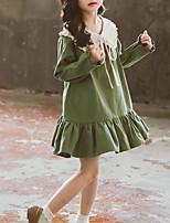Недорогие -Дети Дети (1-4 лет) Девочки Милая Симпатичные Стиль Однотонный Оборки Рюши Длинный рукав До колена Платье Пурпурный