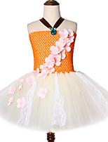 Недорогие -принцесса моана день рождения до кружева тюль цветы девушка одежда хэллоуин косплей костюм