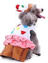 Недорогие -Собаки Инвентарь Одежда для собак Геометрический принт Белый Полиэстер Костюм Назначение Зима Праздник Хэллоуин