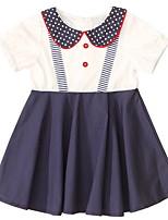 Недорогие -Дети Девочки Симпатичные Стиль Контрастных цветов Платье Темно синий