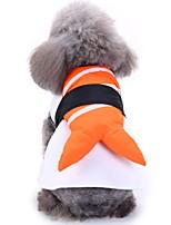 Недорогие -Собаки Инвентарь Одежда для собак Полоски Оранжевый Полиэстер Костюм Назначение Зима Праздник Хэллоуин