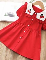 Недорогие -Дети Девочки Фрукты Вышивка Платье Красный