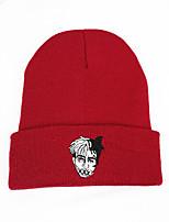 Недорогие -Муж. Жен. Активный Классический Симпатичные Стиль Широкополая шляпа Хлопок Вязаная одежда,Однотонный Осень Зима Черный Красный Темно синий