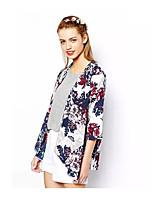 Недорогие -Жен. Блуза Цветочный принт Цвет радуги