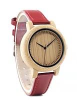 Недорогие -Жен. Кварцевые Мода Красный Натуральная кожа Японский Японский кварц Золотой + красный Повседневные часы деревянный 30 m Аналоговый Два года Срок службы батареи