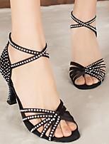 Недорогие -Жен. Танцевальная обувь Шёлк Обувь для латины На каблуках Тонкий высокий каблук Черный / Желтый