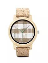 Недорогие -Для пары Спортивные часы Японский Японский кварц Старинный Стильные Кожа Хаки Нет Повседневные часы деревянный Аналоговый Мода Дерево - Хаки Два года Срок службы батареи