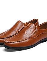 cheap -Men's Cowhide Spring & Summer / Fall & Winter Casual / British Loafers & Slip-Ons Walking Shoes Black / Brown / Yellow