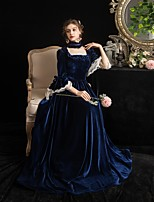 cheap -Maria Antonietta Vintage Rococo Medieval Winter Dress Party Costume Masquerade Women's Pleuche Costume Navy Blue Vintage Cosplay Party Masquerade 3/4-Length Sleeve