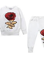Недорогие -Дети Девочки Классический Цветочный принт С принтом Длинный рукав Набор одежды Черный