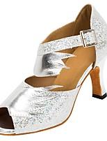 Недорогие -Жен. Танцевальная обувь Синтетика Обувь для латины Планка На каблуках Толстая каблук Персонализируемая Серебряный