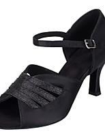 Недорогие -Жен. Танцевальная обувь Сатин Обувь для латины Планка На каблуках Толстая каблук Персонализируемая Черный