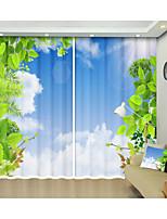 Недорогие -зеленый лист голубое небо цифровая печать творческий 3d занавес тень занавес высокой точности черный шелк ткань высокого качества первый класс занавес тени