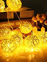 Недорогие -2м струнные светильники 20 светодиодов теплый белый / RGB / белый / синий / креатив / декоративные / рождественские шары из ротанга / ночной свет / свадьба с батарейным питанием 1 комплект
