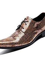 cheap -Men's Oxfords Business Casual British Daily Party & Evening Cowhide Handmade Non-slipping Wear Proof Gold Fall Winter