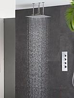 Недорогие -скрытый душевой комплект 4 штурвала горячая и холодная основная часть со встроенной коробкой две функции 40 см потолочная насадка для душа медная ручная ванная комната в стене смеситель хромированная