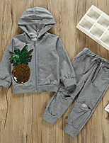cheap -Kids Toddler Girls' Basic Solid Colored Fruit Sequins Ripped Long Sleeve Regular Regular Clothing Set Gray