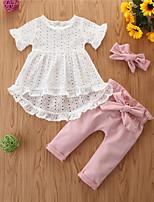 Недорогие -малыш Девочки Классический С принтом С короткими рукавами Обычный Обычная Набор одежды Белый