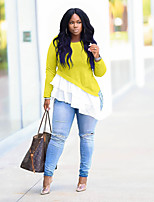 Недорогие -Жен. Блуза Однотонный Желтый