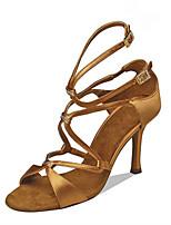 Недорогие -Жен. Танцевальная обувь Сатин Обувь для латины Стразы На каблуках Тонкий высокий каблук Персонализируемая Черный / Бронзовый