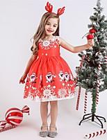 Недорогие -Дети Девочки Активный Милая Дед Мороз Рождество С принтом Без рукавов До колена Платье Красный
