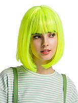 Недорогие -Парики из искусственных волос Чёлки Прямой Естественный прямой Стиль Стрижка боб Без шапочки-основы Парик флуоресцентный зеленый Искусственные волосы 12 дюймовый Жен. Милый стиль Косплей Женский
