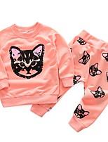 Недорогие -Дети Девочки Классический Мультипликация Длинный рукав Набор одежды Розовый
