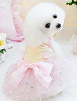 Недорогие -Собаки Коты Животные Платья Одежда для собак Пайетки Желтый Розовый Полиэстер Костюм Назначение Лето Тонкая прозрачная ткань