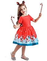 Недорогие -Дети Девочки Активный Милая Дед Мороз Рождество С принтом С короткими рукавами До колена Платье Красный