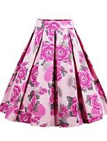 Недорогие -Жен. А-силуэт Подол Цветочный принт Лиловый Розовый Зеленый S M L