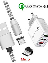 cheap -Magnetic Micro USB Cable For Samsung Galaxy J7 J5 J3 J4 Huawei Y5 Y6 LG G3 Stylo 3 Oppo A7 android Phone QC 3.0 USB Fast charger