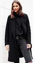 Недорогие -Жен. Повседневные Длинная Пальто, Однотонный Лацкан с тупым углом Длинный рукав Полиэстер Черный / Верблюжий