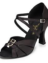 Недорогие -Жен. Танцевальная обувь Сатин Обувь для латины Кристаллы На каблуках Тонкий высокий каблук Персонализируемая Черный / Коричневый