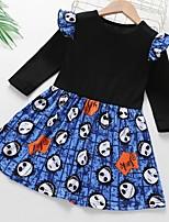 Недорогие -Дети Девочки Контрастных цветов Платье Черный