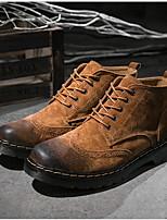 Недорогие -Муж. Армейские ботинки Свиная кожа Весна Туфли на шнуровке Ботинки Коричневый / Военно-зеленный / Серый