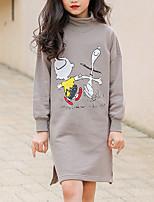 Недорогие -Дети Девочки Классический Мультипликация С принтом Длинный рукав Средней длины Платье Серый