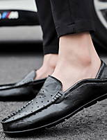 cheap -Men's Summer / Fall Business / Vintage / British Office & Career Loafers & Slip-Ons Nappa Leather Breathable Non-slipping Wear Proof Black / Blue / Brown