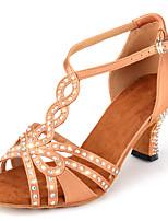 Недорогие -Жен. Танцевальная обувь Синтетика Обувь для латины Лак / Кристаллы / Блеск На каблуках Кубинский каблук Персонализируемая Миндальный