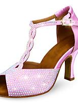Недорогие -Жен. Танцевальная обувь Сатин Обувь для латины Лак / Пряжки / Блеск На каблуках Кубинский каблук Персонализируемая Розовый