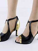 Недорогие -Жен. Танцевальная обувь Искусственная кожа Обувь для латины Планка На каблуках Тонкий высокий каблук Персонализируемая Черный и золотой