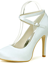 cheap -Women's Wedding Shoes Stiletto Heel Round Toe Sexy Wedding Party & Evening Satin Solid Colored White Black Purple