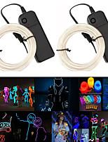 Недорогие -3м струнные светильники гибкие складные световые линии эль 2.3мм выбор нескольких цветов водонепроницаемый сгибаемый форма хэллоуин фестиваль праздничные дни 2 шт.