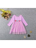 Недорогие -Дети Дети (1-4 лет) Девочки Милая Симпатичные Стиль Однотонный Сетка Длинный рукав Средней длины Платье Розовый