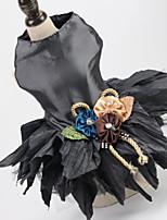 Недорогие -Собаки Коты Животные Платья Одежда для собак Цветы Черный Красный Полиэстер Костюм Назначение Лето Свадьба